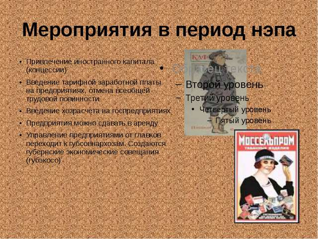 Мероприятия в период нэпа Привлечение иностранного капитала (концессии) Введе...