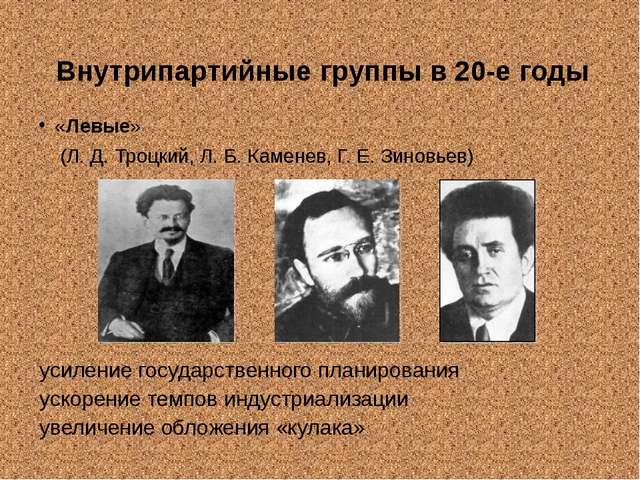 Внутрипартийные группы в 20-е годы «Левые» (Л. Д. Троцкий, Л. Б. Каменев, Г....