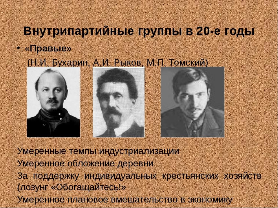 Внутрипартийные группы в 20-е годы «Правые» (Н.И. Бухарин, А.И. Рыков, М.П....