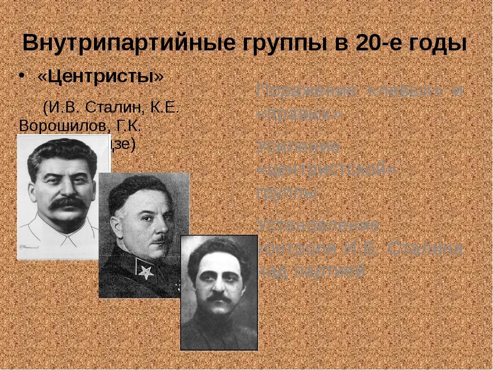 Внутрипартийные группы в 20-е годы «Центристы» (И.В. Сталин, К.Е. Ворошилов,...