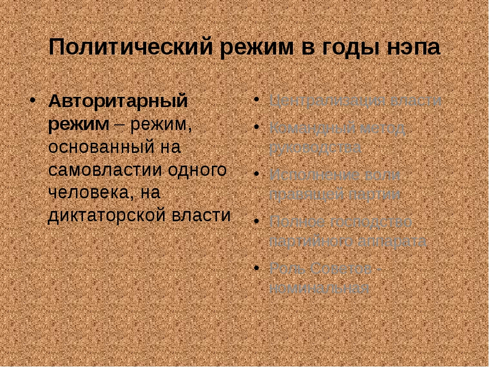 Политический режим в годы нэпа Авторитарный режим – режим, основанный на само...