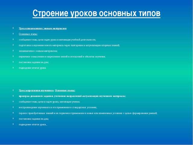 Строение уроков основных типов Урок ознакомления с новым материалом Основные...