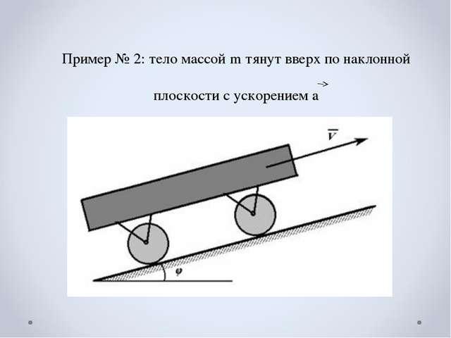 Пример № 2: тело массой m тянут вверх по наклонной плоскости с ускорением a