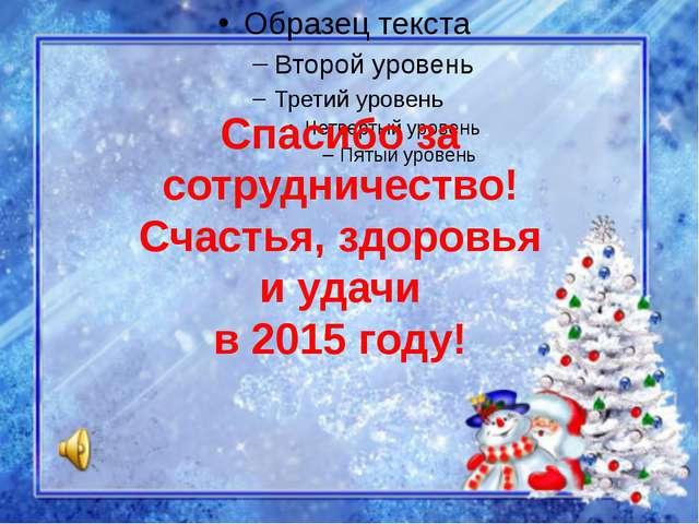 Спасибо за сотрудничество! Счастья, здоровья и удачи в 2015 году!
