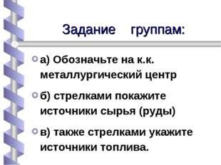 Задание группам: а) Обозначьте на к.к. металлургический центр б) стрелками по