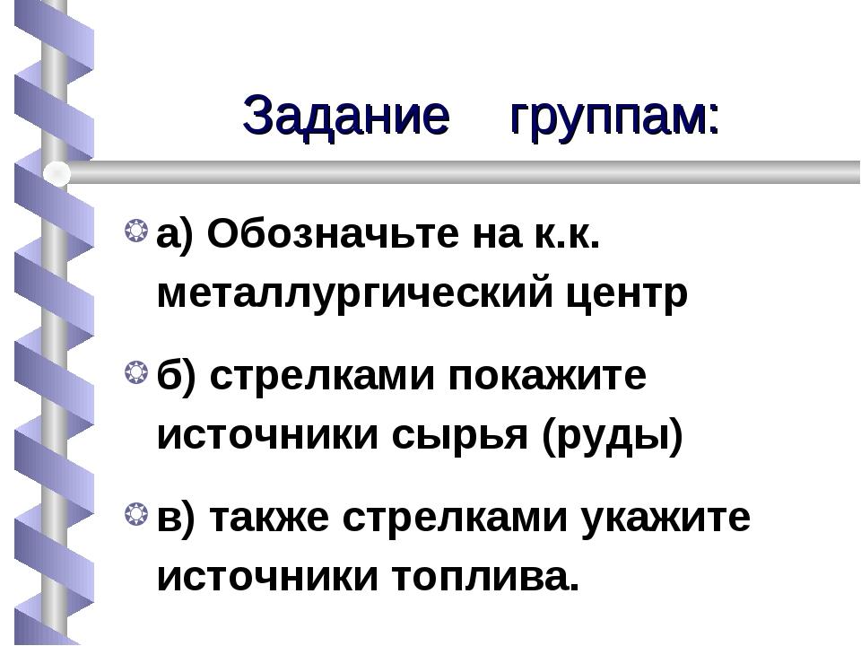 Задание группам: а) Обозначьте на к.к. металлургический центр б) стрелками по...