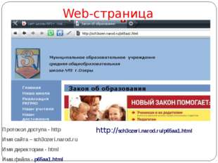 Web-страница Протокол доступа - http Имя сайта – sch3ozeri.narod.ru Имя дире