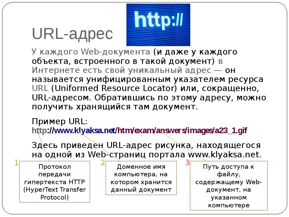 URL-адрес У каждого Web-документа (и даже у каждого объекта, встроенного в т...