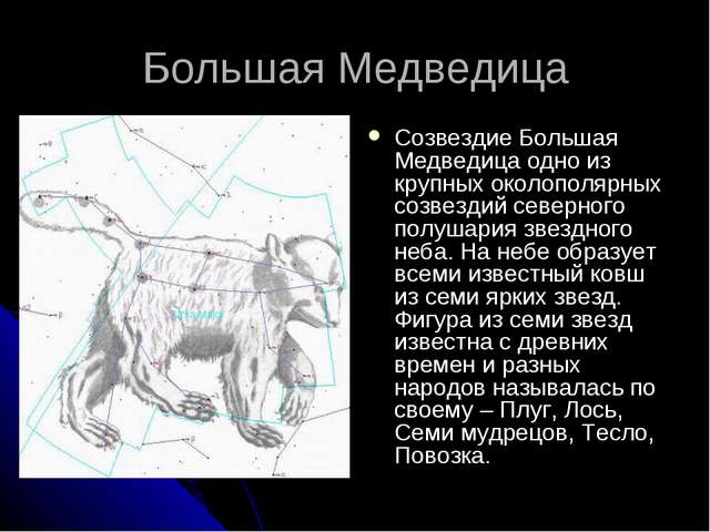 Большая Медведица Созвездие Большая Медведица одно из крупных околополярных с...