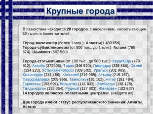 ВКазахстаненаходятся 28 городов, с населением, насчитывающим 50 тысяч и бол