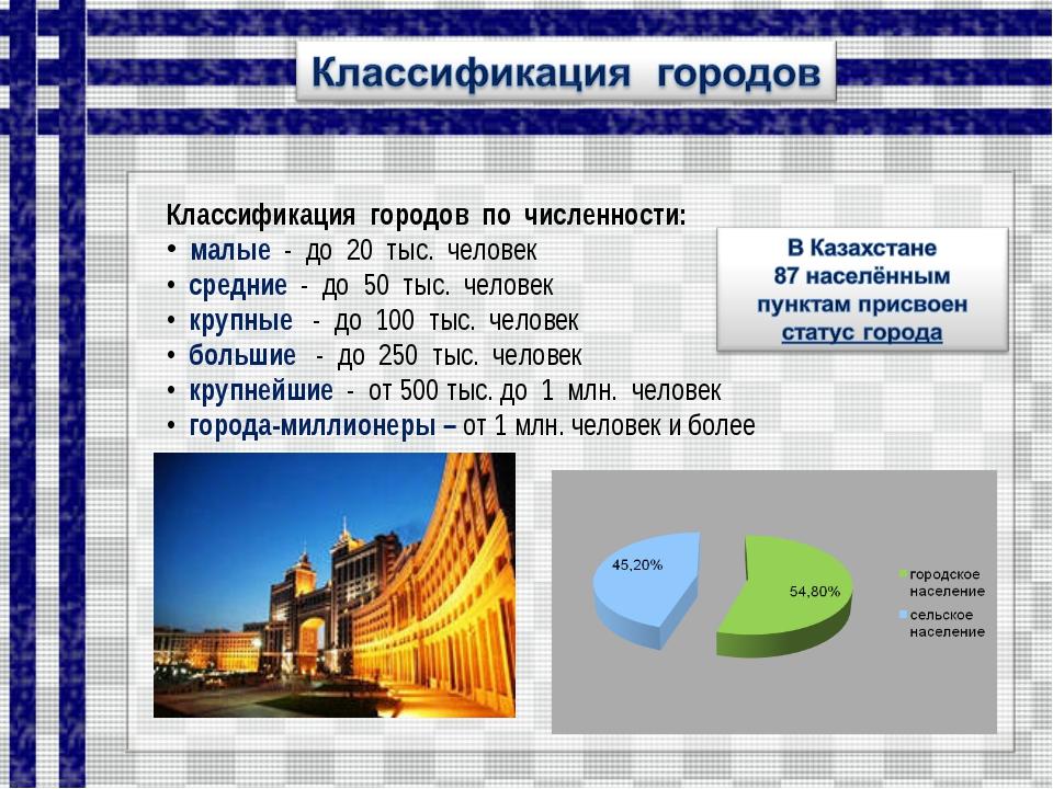 Классификация городов по численности: малые - до 20 тыс. человек средние - до...