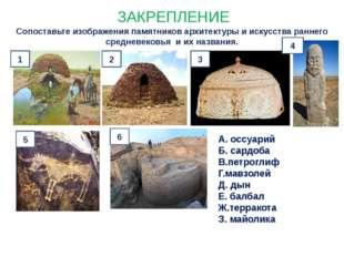 ЗАКРЕПЛЕНИЕ Сопоставьте изображения памятников архитектуры и искусства раннег