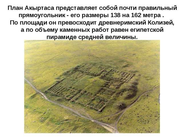 План Акыртаса представляет собой почти правильный прямоугольник - его размер...