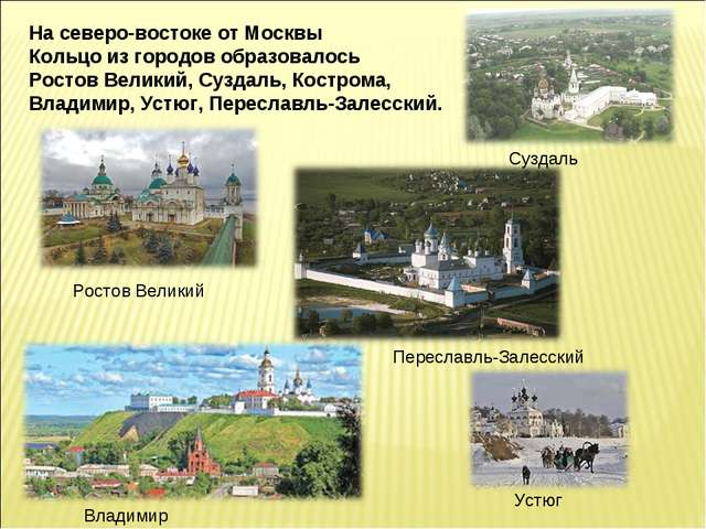 На северо-востоке от Москвы Кольцо из городов образовалось Ростов Великий, Су...
