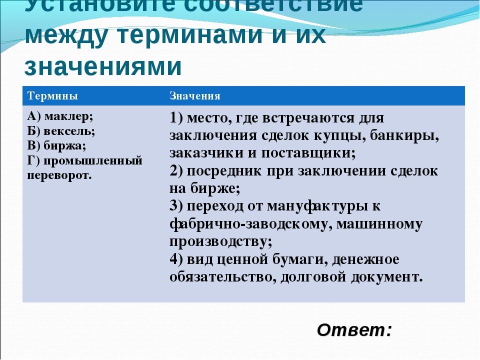 Установите соответствие между терминами и их значениями Ответ: ТерминыЗначен...