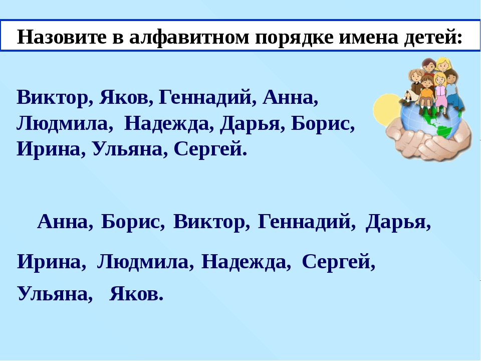 Назовите в алфавитном порядке имена детей: Виктор, Яков, Геннадий, Анна, Людм...