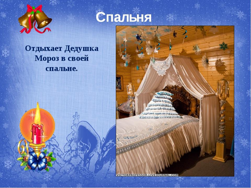Спальня Отдыхает Дедушка Мороз в своей спальне.