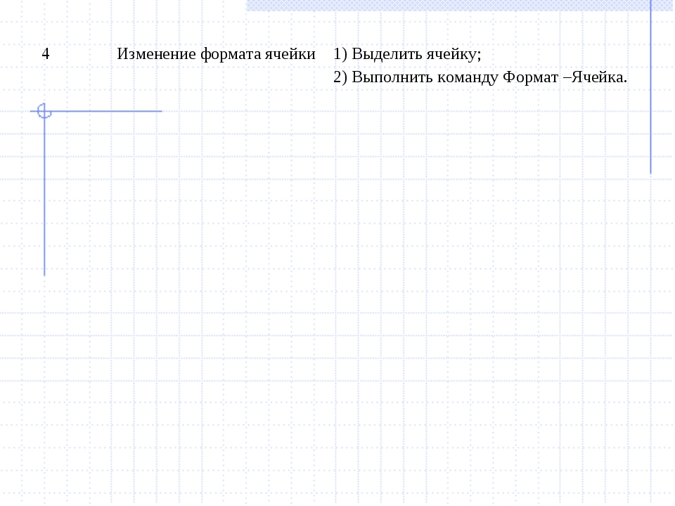 4Изменение формата ячейки1) Выделить ячейку; 2) Выполнить команду Формат –Я...