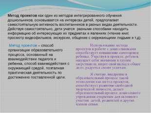 Метод проектов как один из методов интегрированного обучения дошкольников, ос