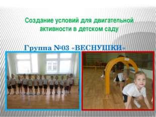 Создание условий для двигательной активности в детском саду Группа №03 «ВЕСНУ
