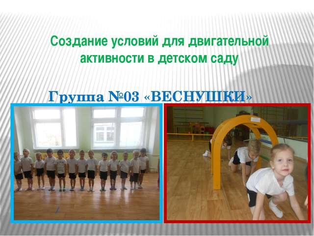 Создание условий для двигательной активности в детском саду Группа №03 «ВЕСНУ...