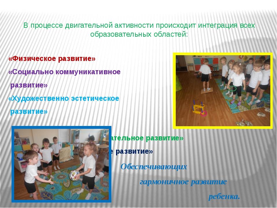 В процессе двигательной активности происходит интеграция всех образовательных...