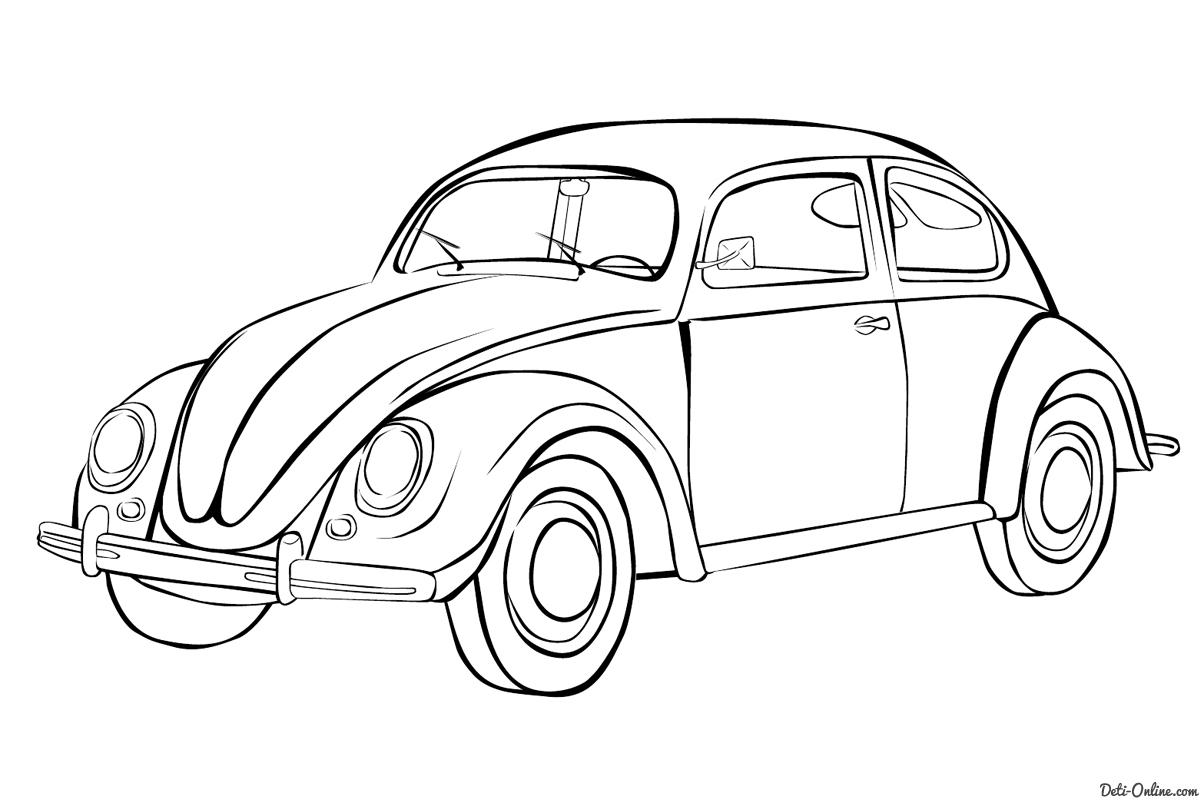Раскраска Машина Фольксваген жук Раскраски Машины
