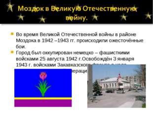 Во время Великой Отечественной войны в районе Моздока в 1942 –1943 гг. происх