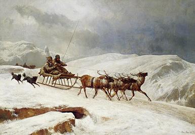 Задорная езда в оленьей упряжке :: Андреас Марко, 1882 год