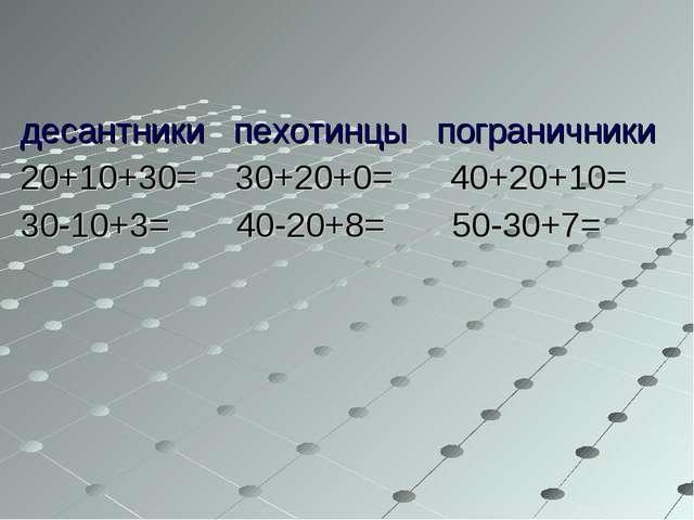 десантники пехотинцы пограничники 20+10+30= 30+20+0= 40+20+10= 30-10+3= 40-20...