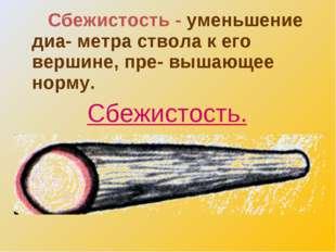 Сбежистость - уменьшение диа- метра ствола к его вершине, пре- вышающее норм
