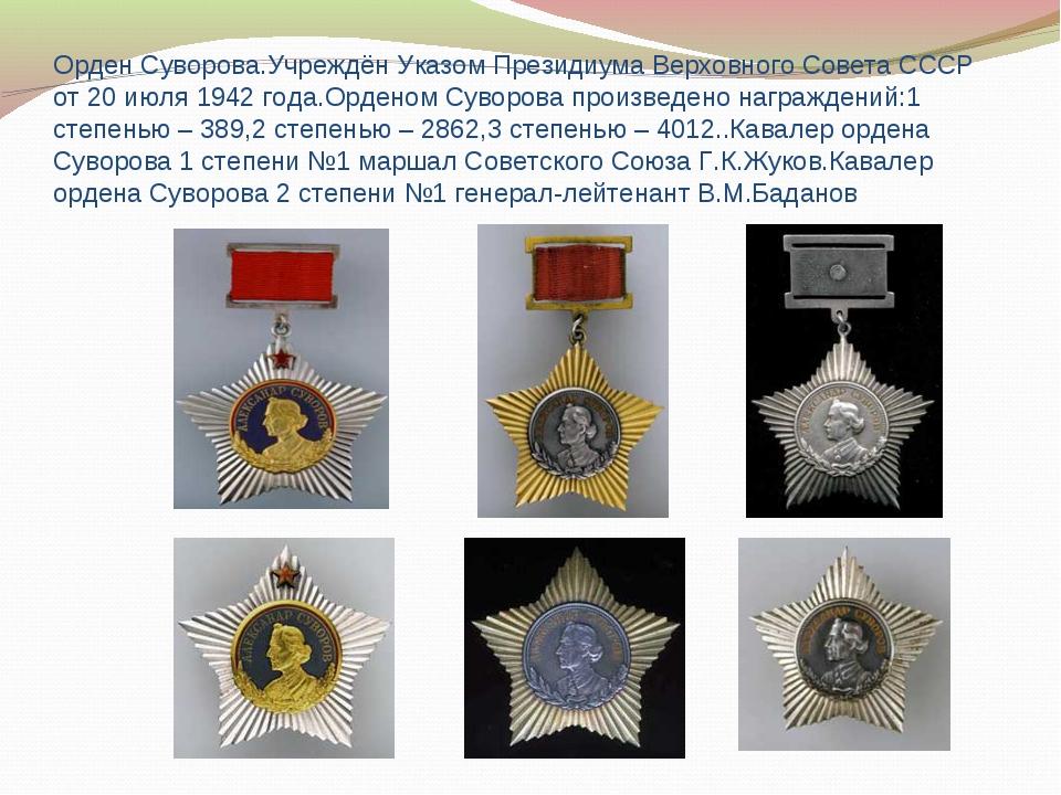 Орден Суворова.Учреждён Указом Президиума Верховного Совета СССР от 20 июля 1...
