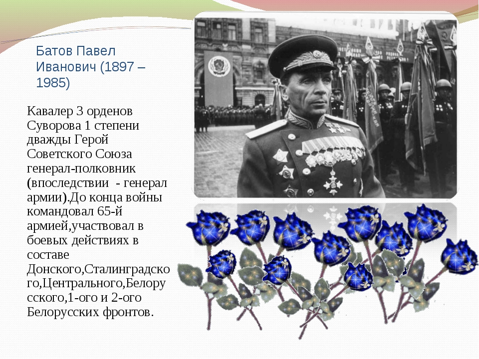 Батов Павел Иванович (1897 – 1985) Кавалер 3 орденов Суворова 1 степени дважд...