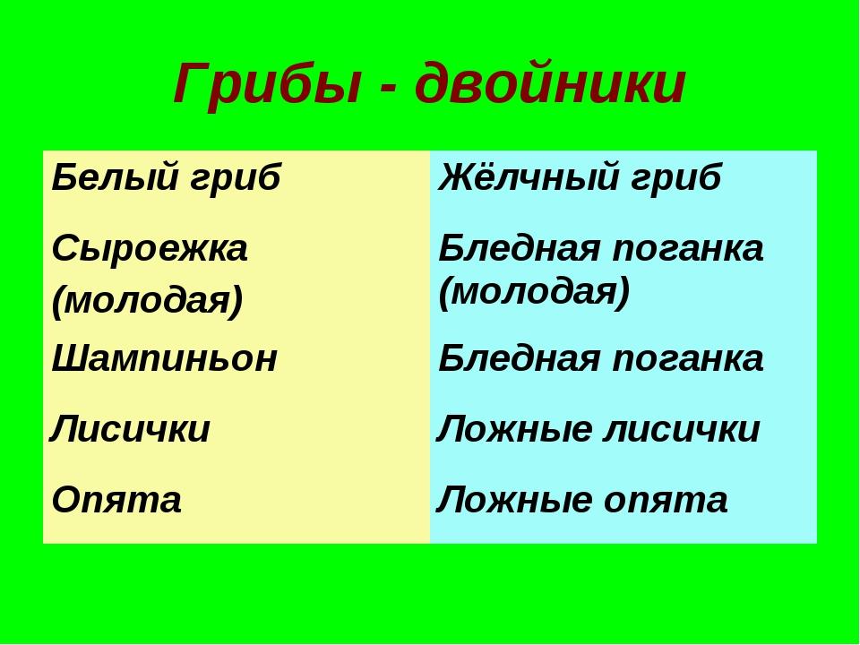 Грибы - двойники Белый грибЖёлчный гриб Сыроежка (молодая)Бледная поганка (...