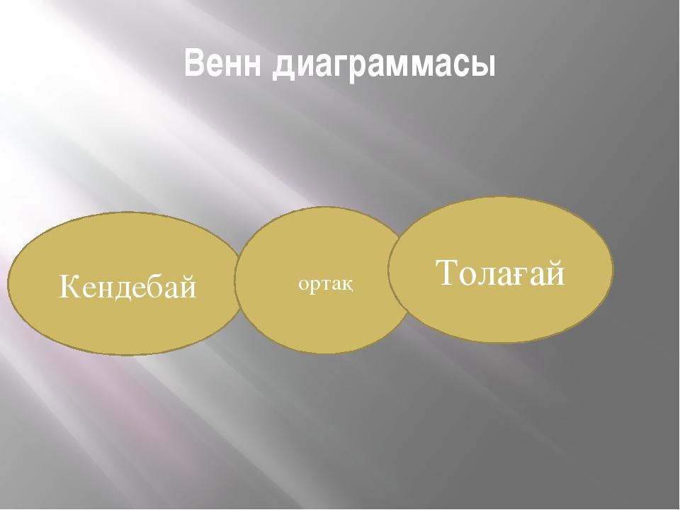 Венн диаграммасы Кендебай ортақ Толағай