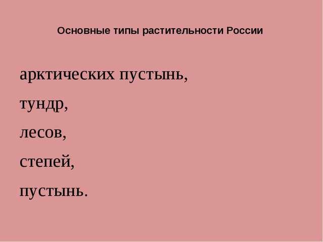 Основные типы растительности России арктических пустынь, тундр, лесов, степе...