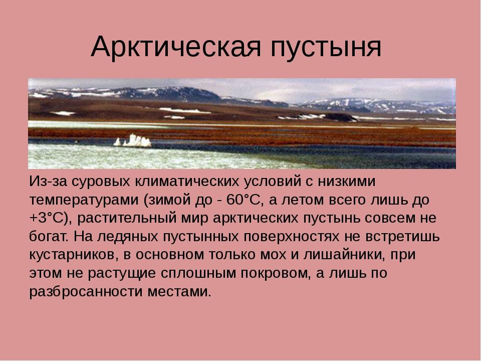 Арктическая пустыня Из-за суровых климатических условий с низкими температура...