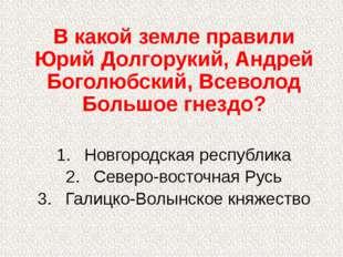 В какой земле правили Юрий Долгорукий, Андрей Боголюбский, Всеволод Большое г