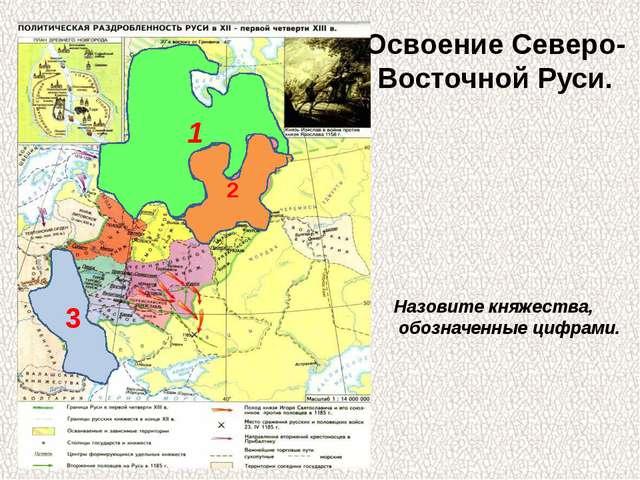 Освоение Северо- Восточной Руси. 1 2 3 Назовите княжества, обозначенные цифра...