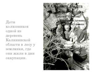 Дети колхозников одной из деревень Калининской области в лесу у землянки, гд