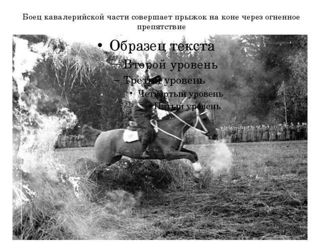 Боец кавалерийской части совершает прыжок на коне через огненное препятствие