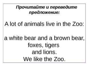Прочитайте и переведите предложение: A lot of animals live in the Zoo: a whit