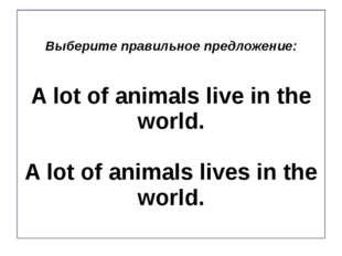 Выберите правильное предложение: A lot of animals live in the world. A lot of