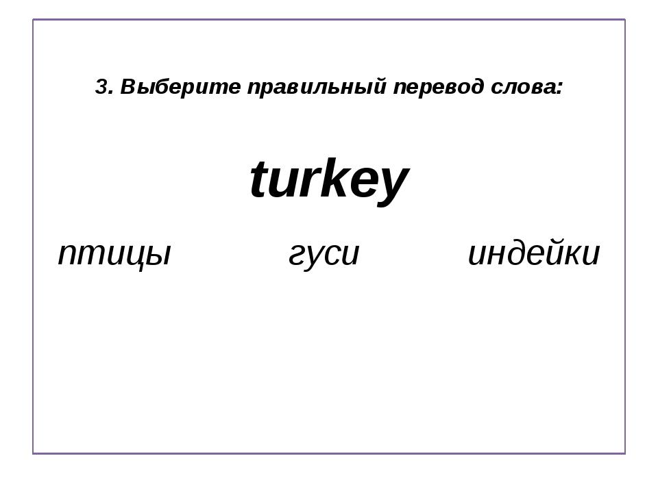 3. Выберите правильный перевод слова: turkey птицы гуси индейки