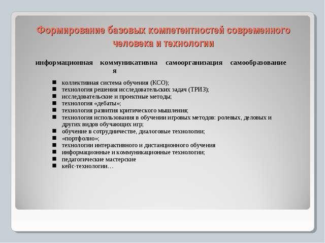 Формирование базовых компетентностей современного человека и технологии инфор...