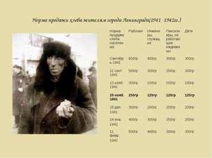 Норма продажи хлеба жителям города Ленинграда(1941 -1942гг.) Норма продажихле