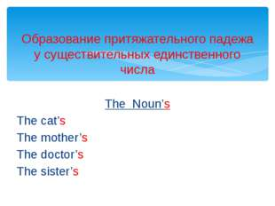 The Noun's The cat's The mother's The doctor's The sister's Образование притя
