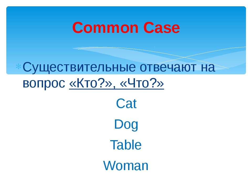 Существительные отвечают на вопрос «Кто?», «Что?» Сat Dog Table Woman Common...