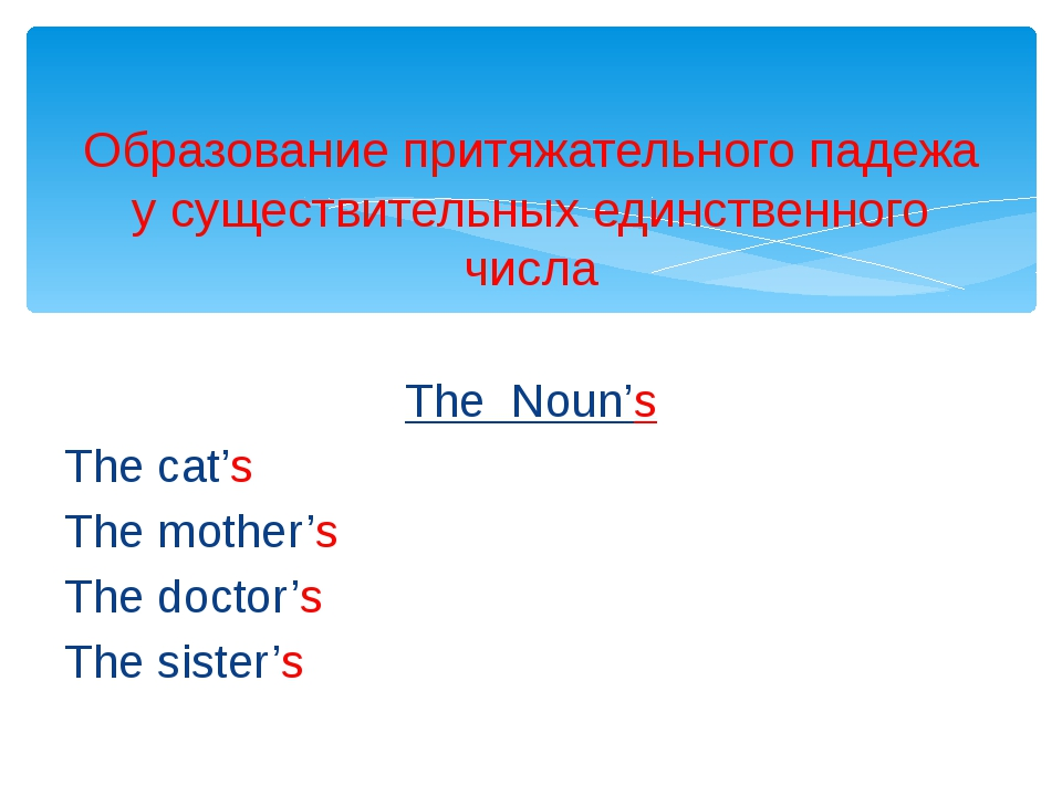 The Noun's The cat's The mother's The doctor's The sister's Образование притя...