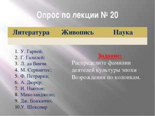 Опрос по лекции № 20 У. Гарвей; Г. Галилей; Л. да Винчи М. Сервантес; Ф. Петр